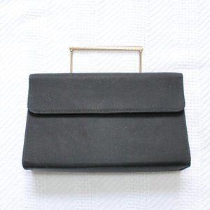Vintage Black Square Short Gold Handle Clutch Bag